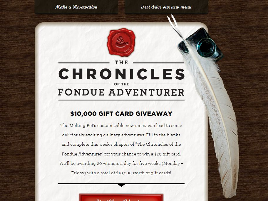 Melting Pot's The Chronicles of the Fondue Adventurer Week 1 Sweepstakes