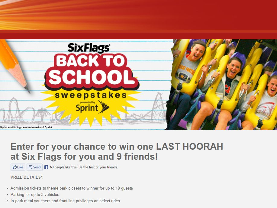 Six Flags Back to School Sweepstakes