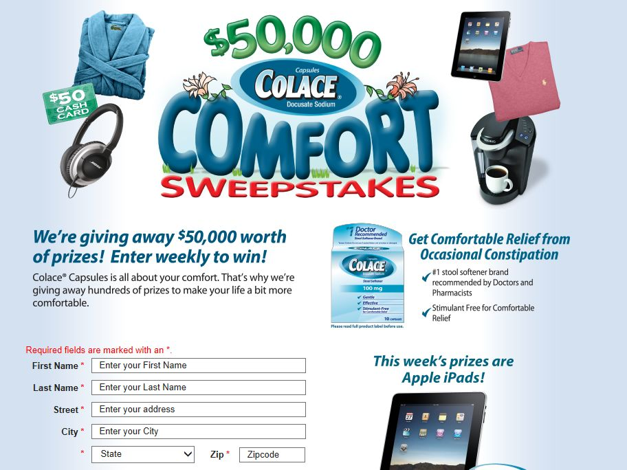Purdue Products L.P. 2013 Colace Comfort Sweepstakes