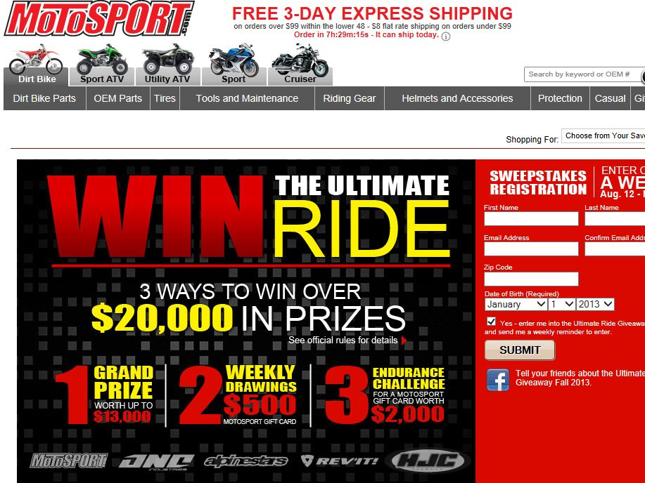 MotoSport Ultimate Ride Giveaway Sweepstakes