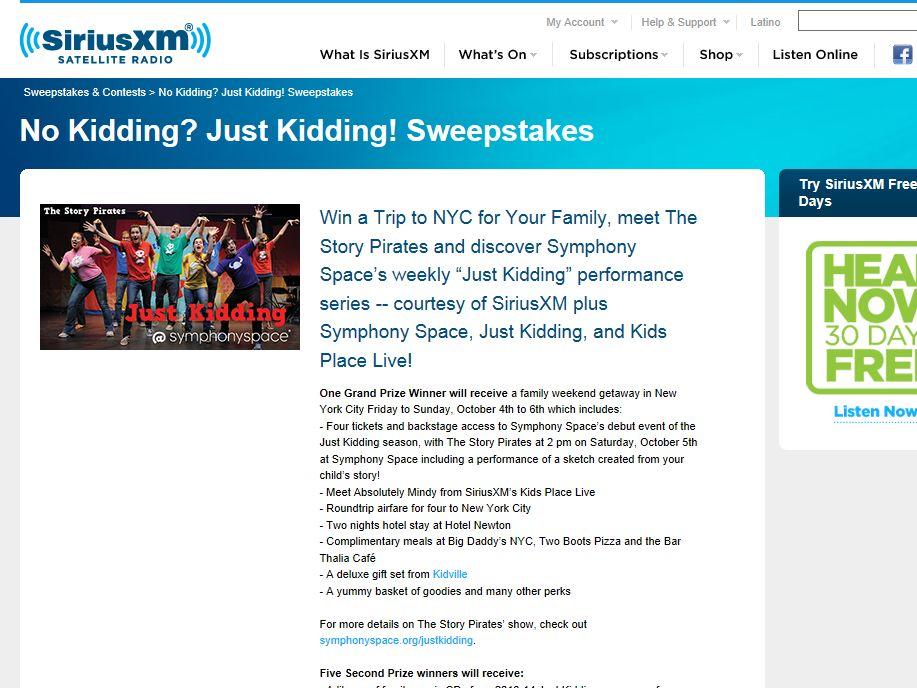 No Kidding? Just Kidding! NYC Trip SiriusXM Sweepstakes