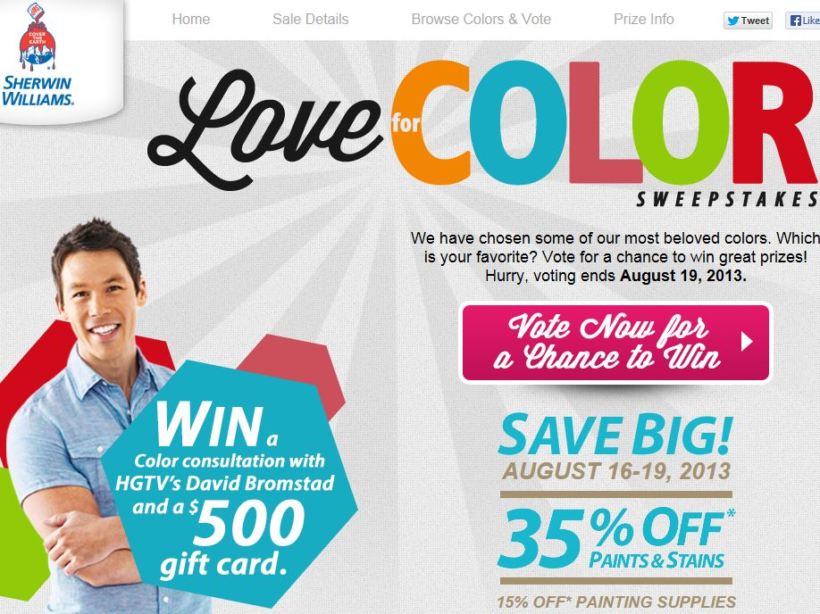 Sherwin-Williams Company Love for Color Anniversary Celebration Sweepstakes