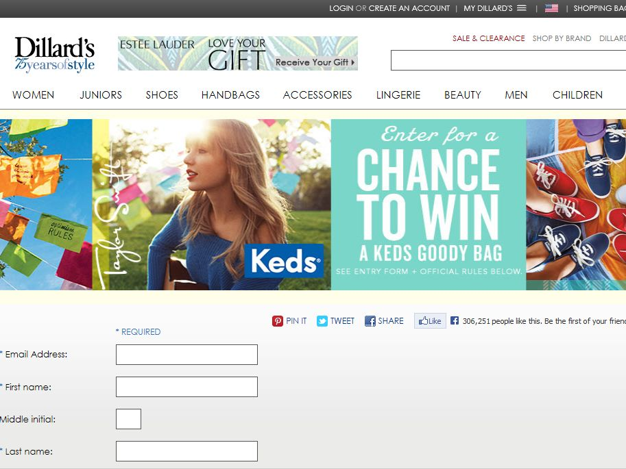 Dillard's Keds Online Sweepstakes