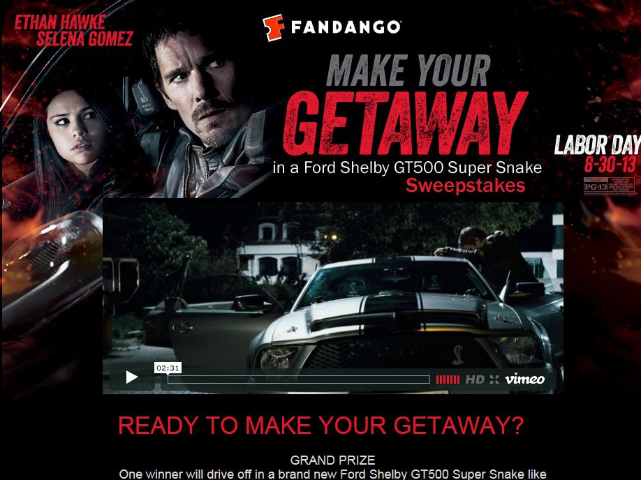 Make Your GETAWAY in a Ford Shelby GT 500 Super Snake Sweepstakes
