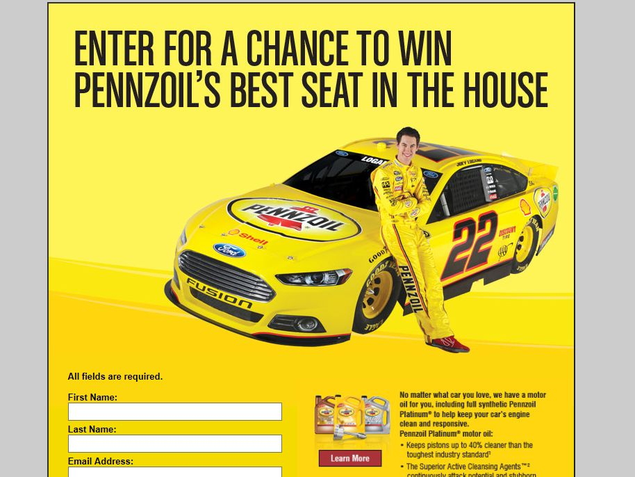 2013 Pennzoil-Advance Auto Parts Best Seat in the House Sweepstakes