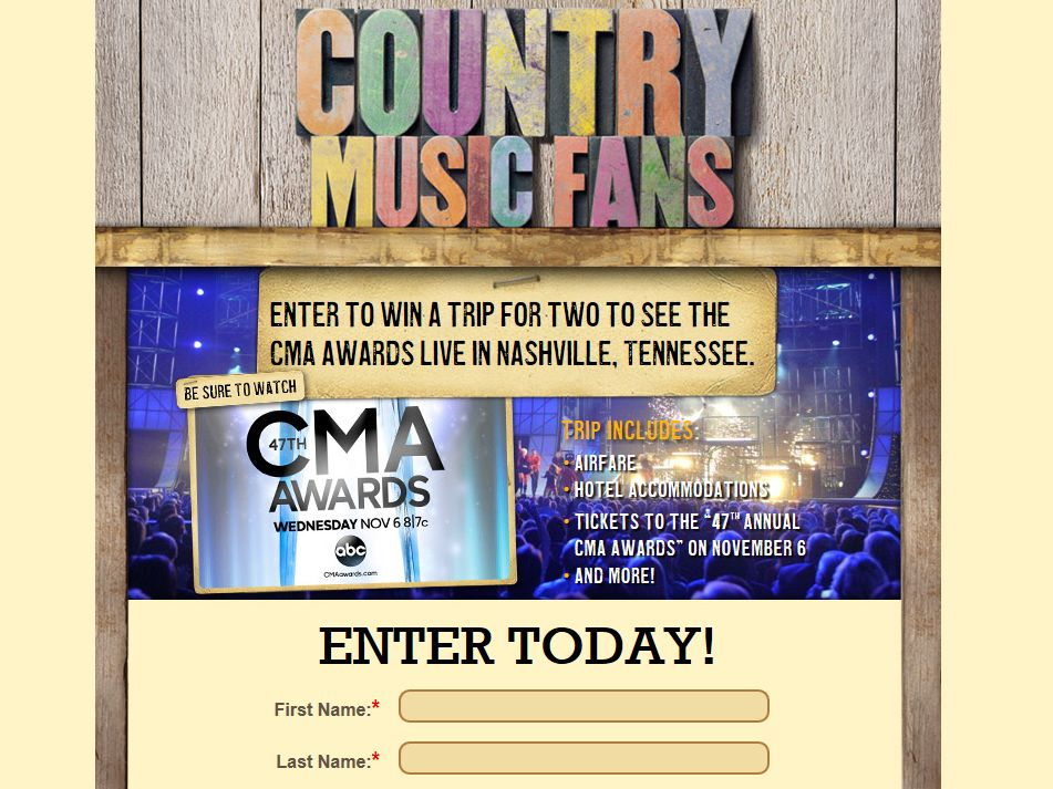 Cracker Barrel Old Country Store, Win a Trip to the CMA Awards Sweepstakes
