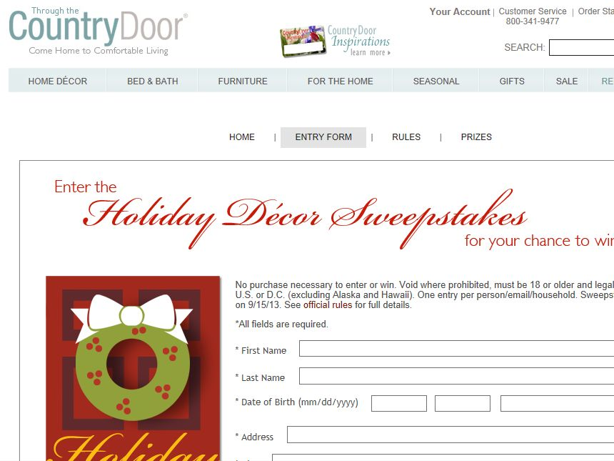 "Country Door ""Holiday Décor"" Sweepstakes"