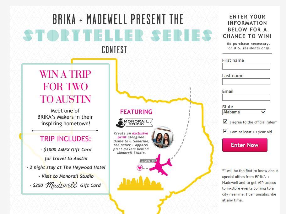 BRIKA + Madewell STORYTELLER SERIES Sweepstakes