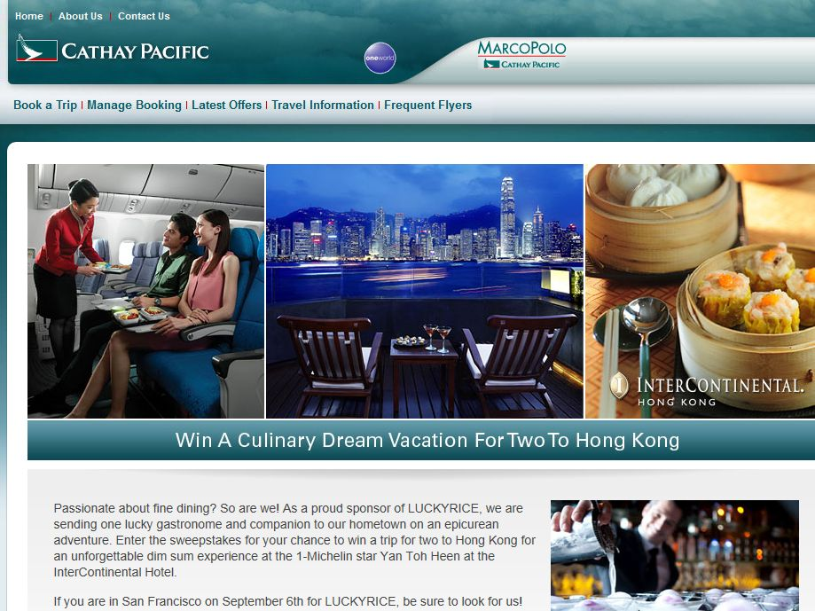 "Cathay Pacific's ""LUCKYRICE"" Sweepstakes"