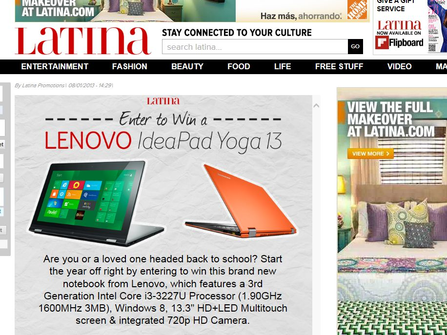 "Latina's ""Lenovo"" Sweepstakes"