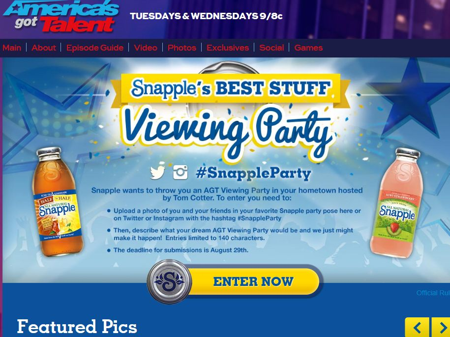 America's Got Talent Snapple's Best Stuff Viewing Party Contest