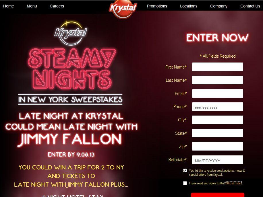 Krystal Steamy Nights in New York Sweepstakes