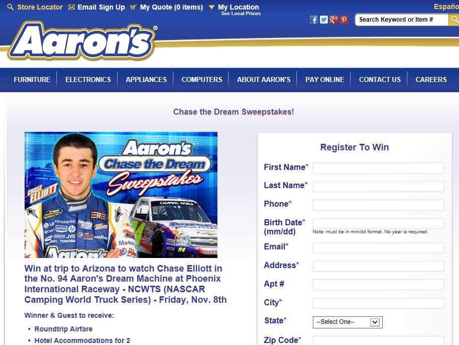 """Aaron's """"Chase the Dream"""" Sweepstakes"""