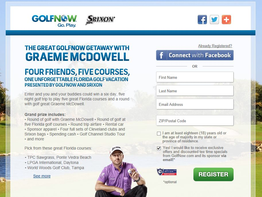 Great GolfNow Getaway With Graeme McDowell Sweepstakes