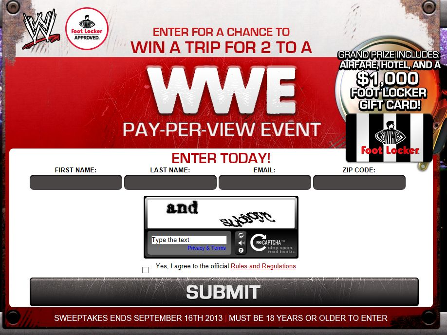 WWE Foot Locker Sweepstakes