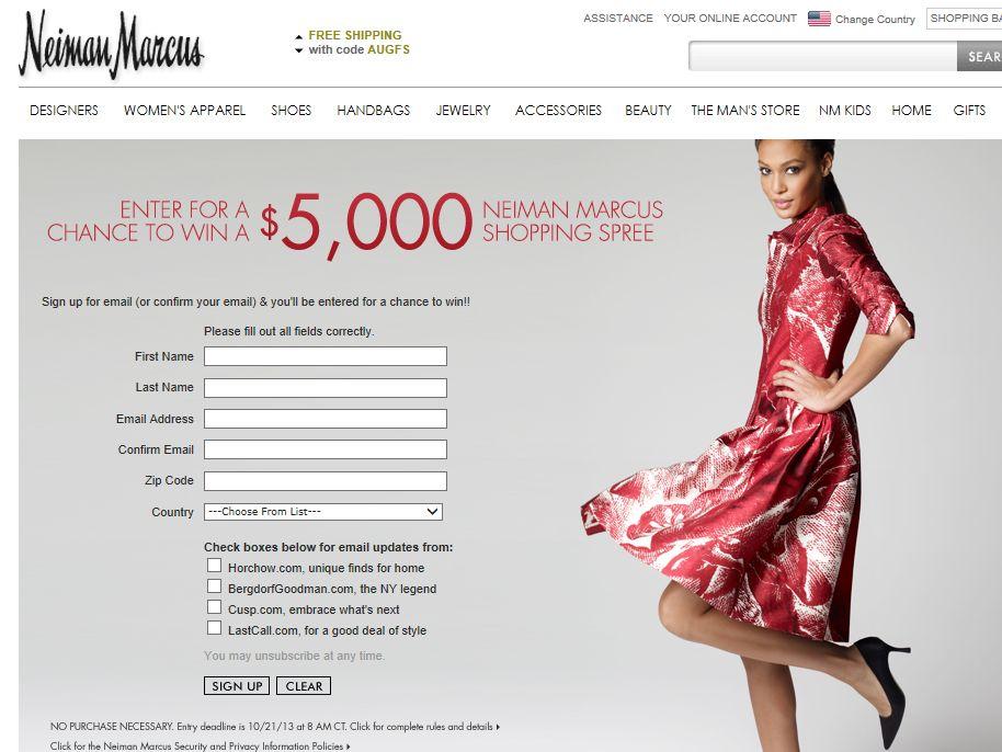 $5,000 Shopping Spree on NeimanMarcus.com Sweepstakes