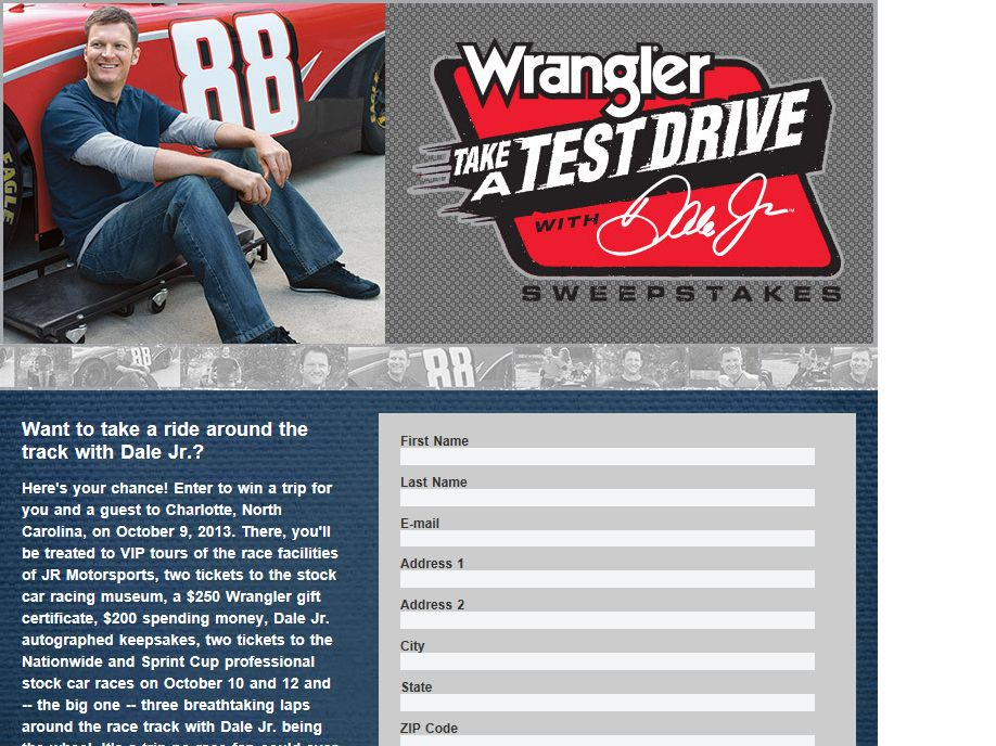"""Wrangler """"Take a Test Drive with Dale Jr."""" Sweepstakes"""