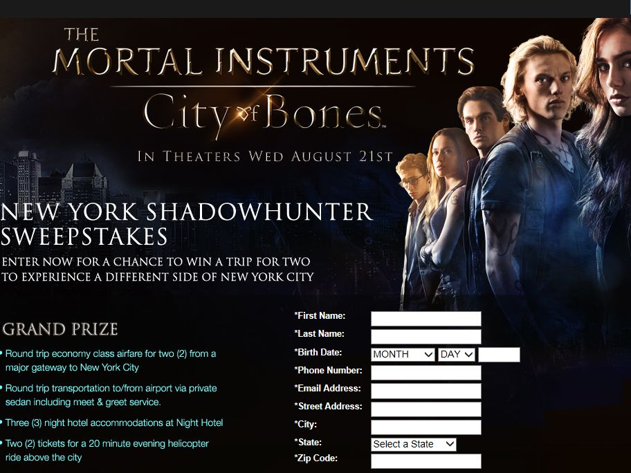 Mortal Instruments Interactive Sweepstakes