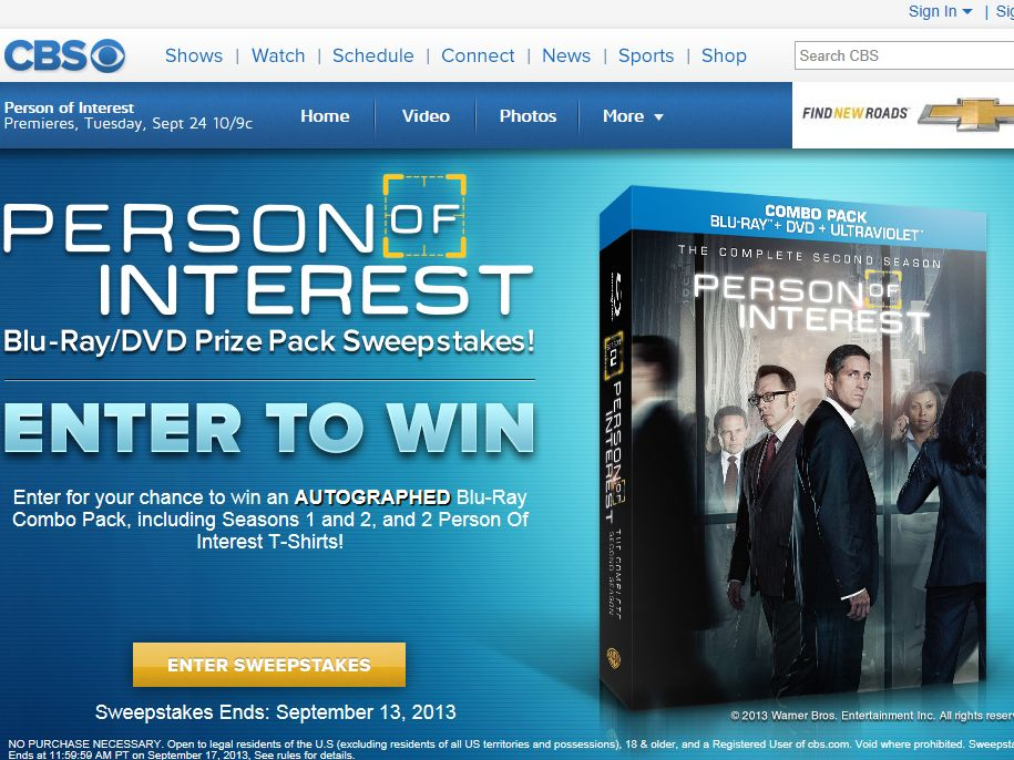 Enter To Win Person of Interest Sweepstakes