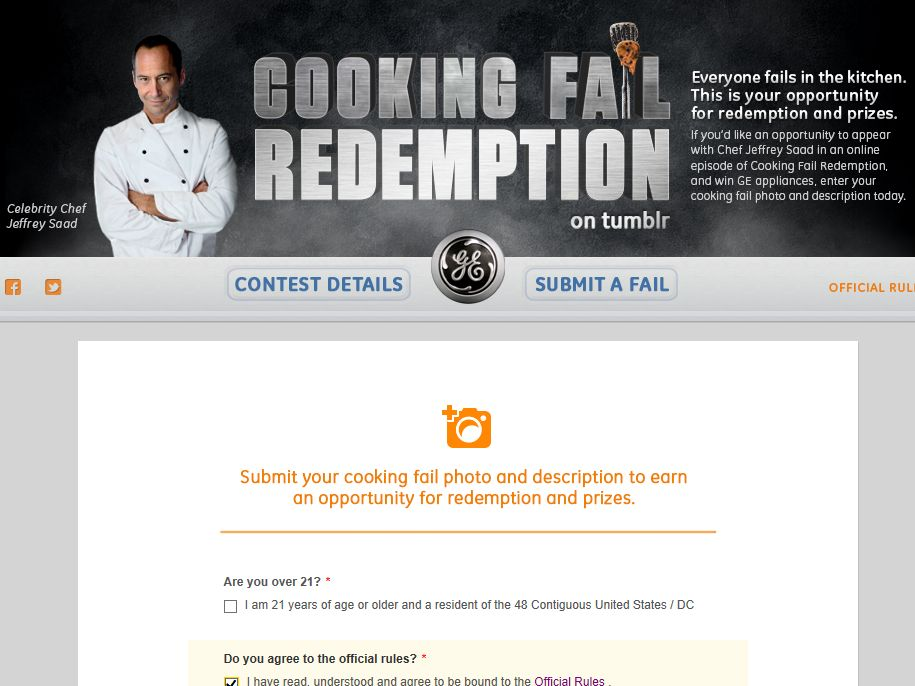 GE Cooking Fail Redemption Contest