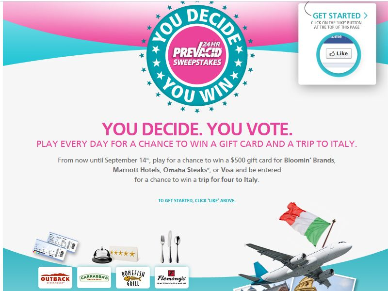 """Prevacid 24HR """"You Decide, You Win"""" Promotion"""