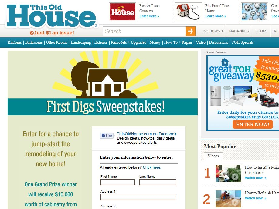 """This Old House """"First Digs"""" Sweepstakes"""