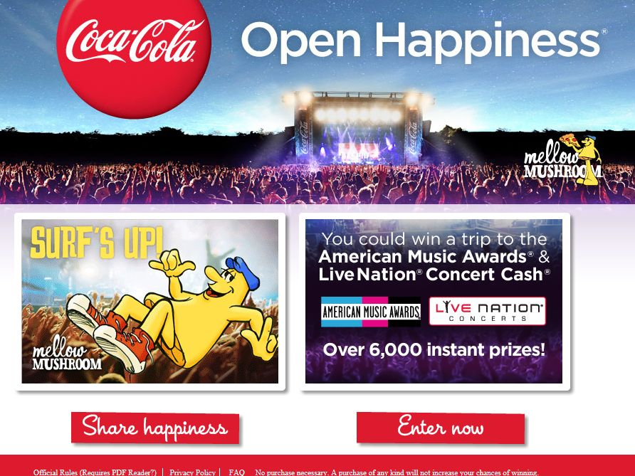 Coca-Cola/Mellow Mushroom Summer Happiness Sweepstakes