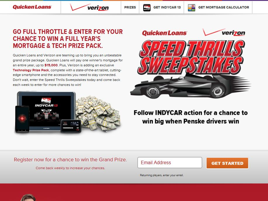 "Verizon Wireless and Quicken Loans ""Speed Thrills"" Sweepstakes"