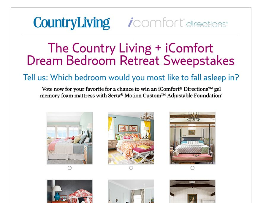 Country Living and IComfort Dream Bedroom Retreat Sweepstakes