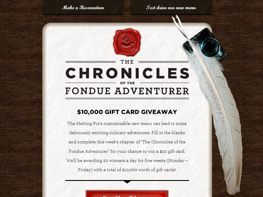 Melting Pot's The Chronicles of the Fondue Adventurer Week 4 Sweepstakes