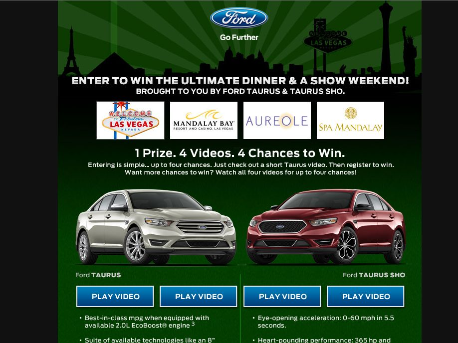 2013 The Ultimate Dinner & A Show Sweepstakes
