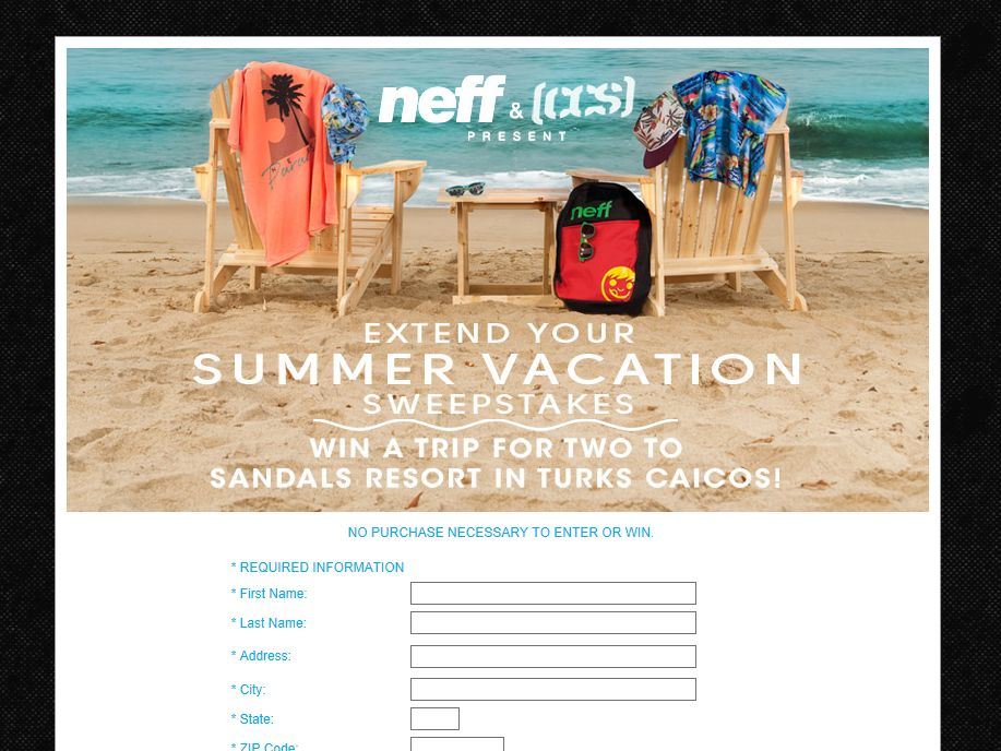 Win a Trip To Turks & Caicos with Neff Sweepstakes