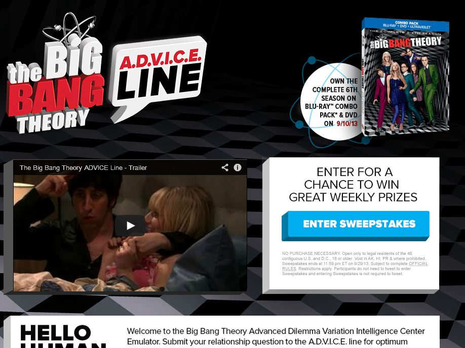 Big Bang Theory Season 6 HE Sweepstakes