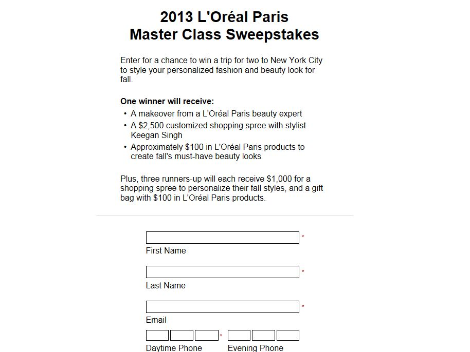 2013 L'Oreal Master Class Sweepstakes