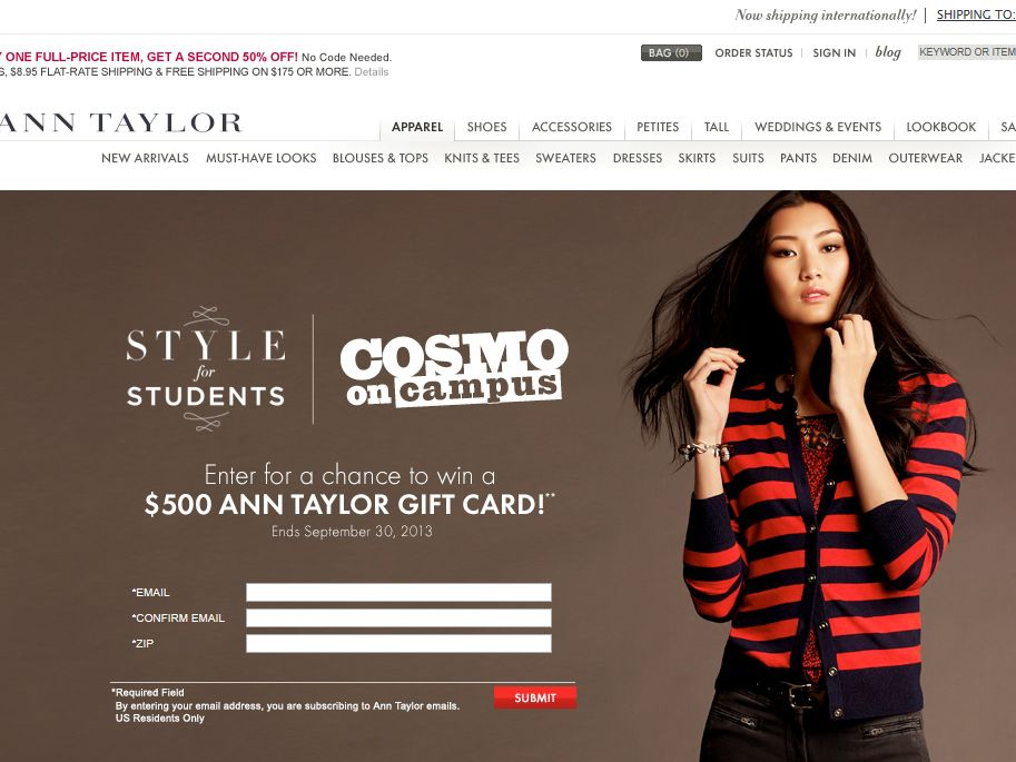 Ann Taylor Cosmo on Campus Sweepstakes