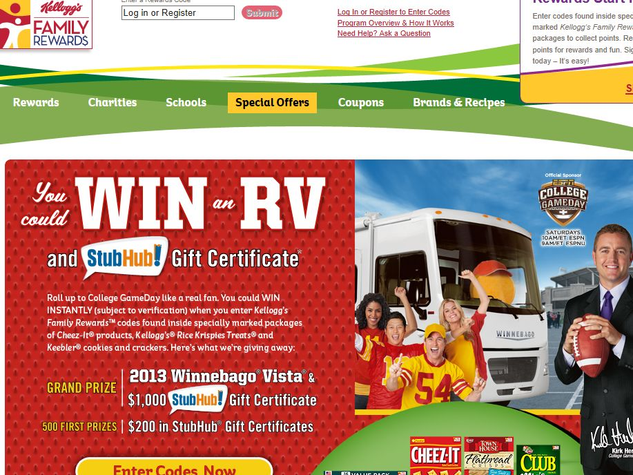 Kellogg's Fall Tailgating Instant Win Game