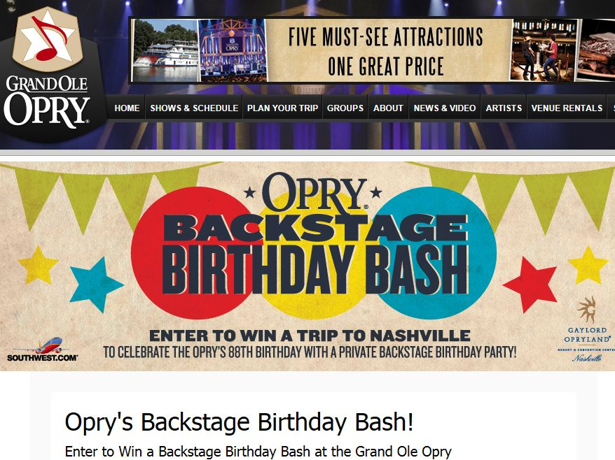 Opry's Backstage Birthday Bash Online Sweepstakes