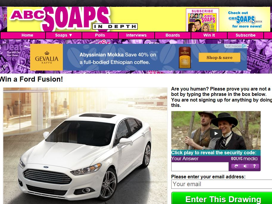 Win a Ford Fusion Sweepstakes