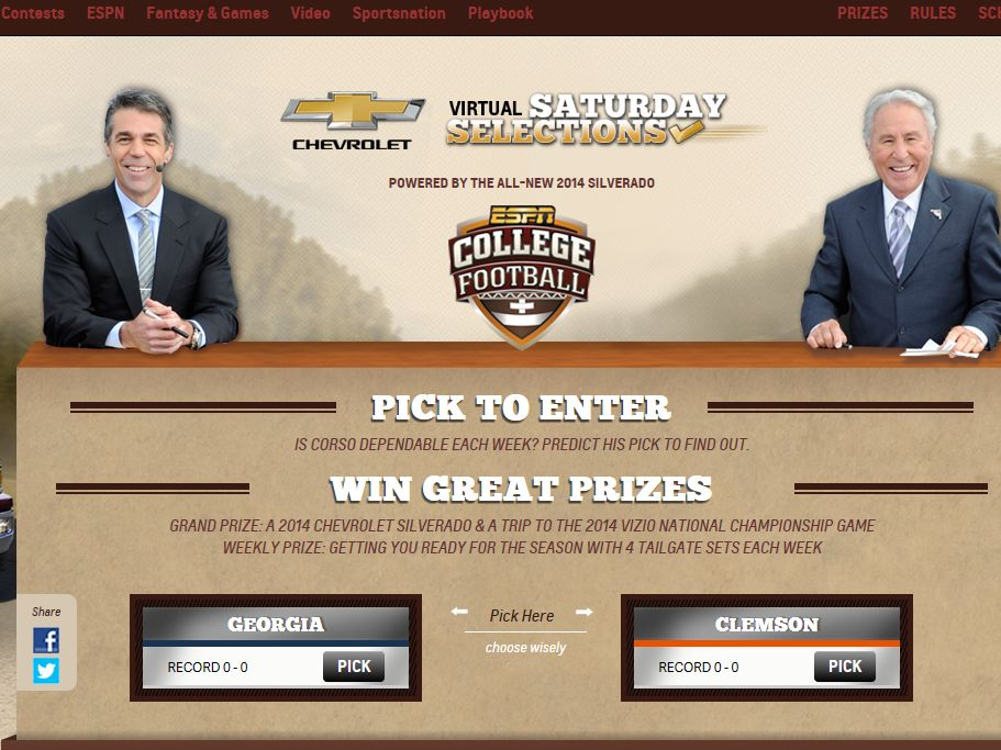 Chevy Virtual Saturday Selection Sweepstakes