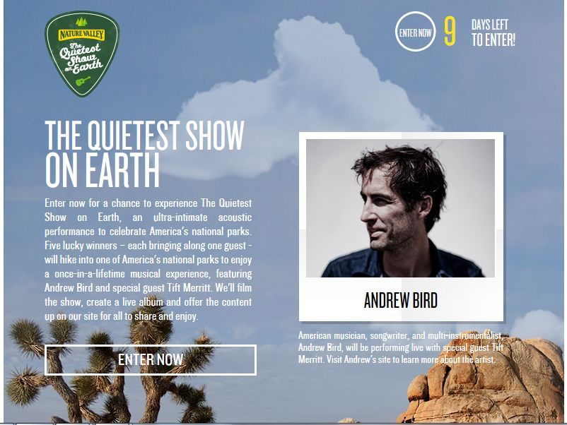 Nature Valley Quietest Show on Earth Sweepstakes