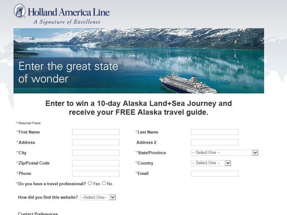10-day Alaska Land+Sea Journey for Two 2013-2014 Sweepstakes