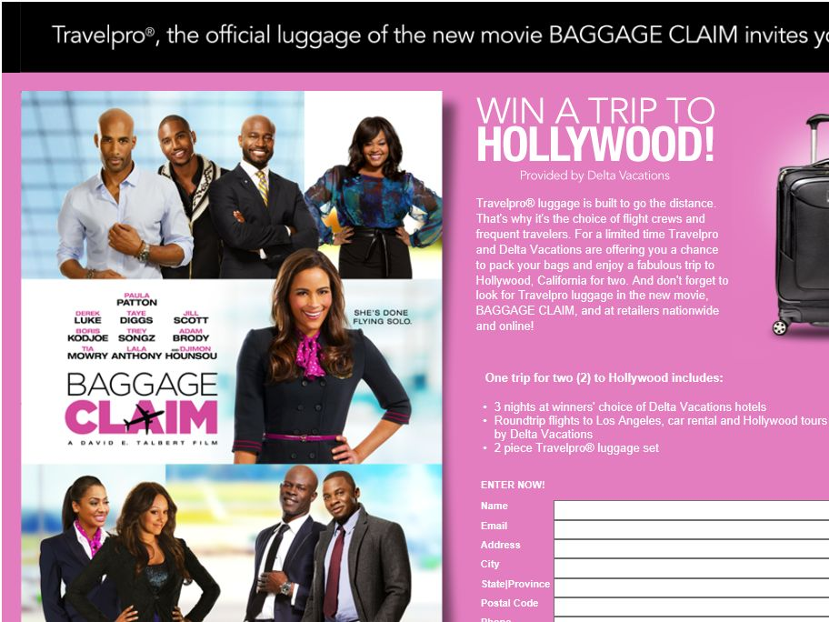 Travelpro Trip To Hollywood Sweepstakes