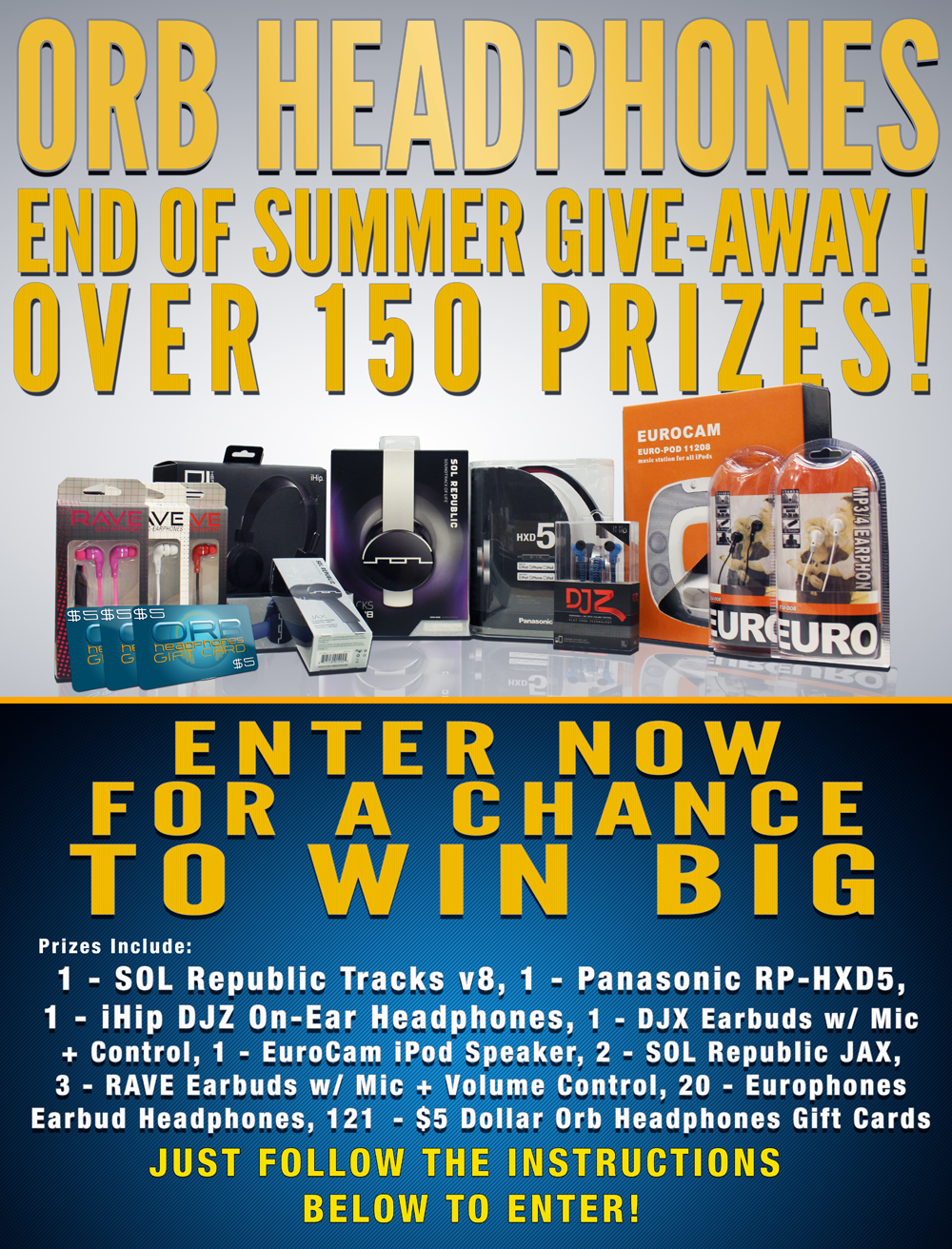 Enter To Win 1 of Over 150 Prizes from Orb Headphones