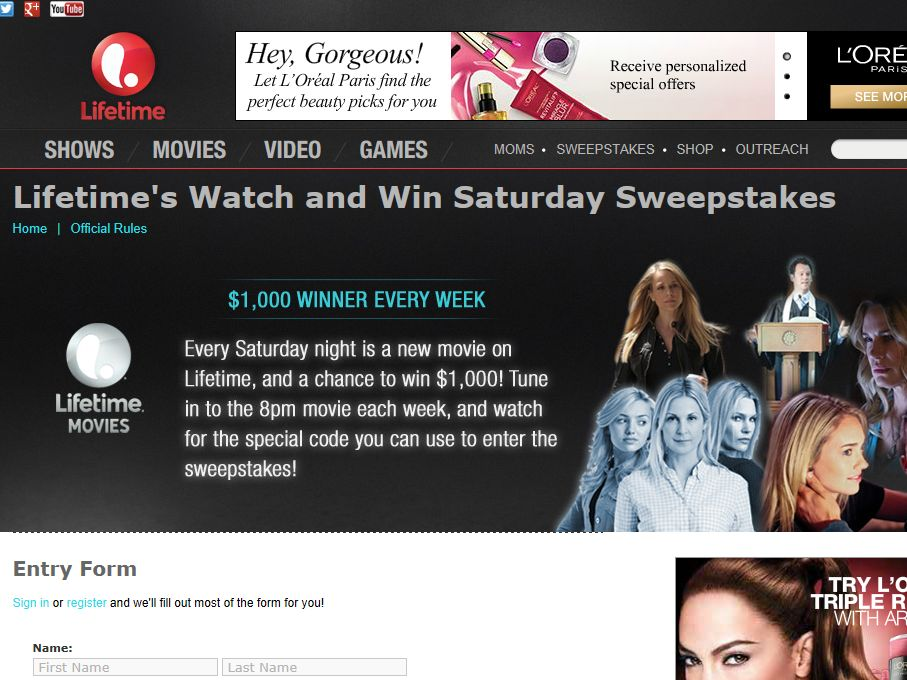 Lifetime's Watch and Win Saturdays Sweepstakes
