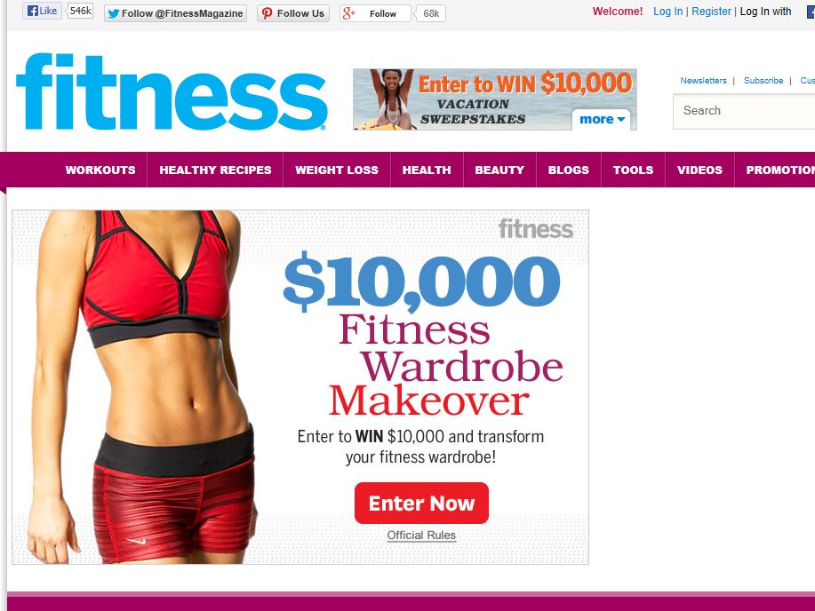 fitness $10,000 Subscription Sweepstakes