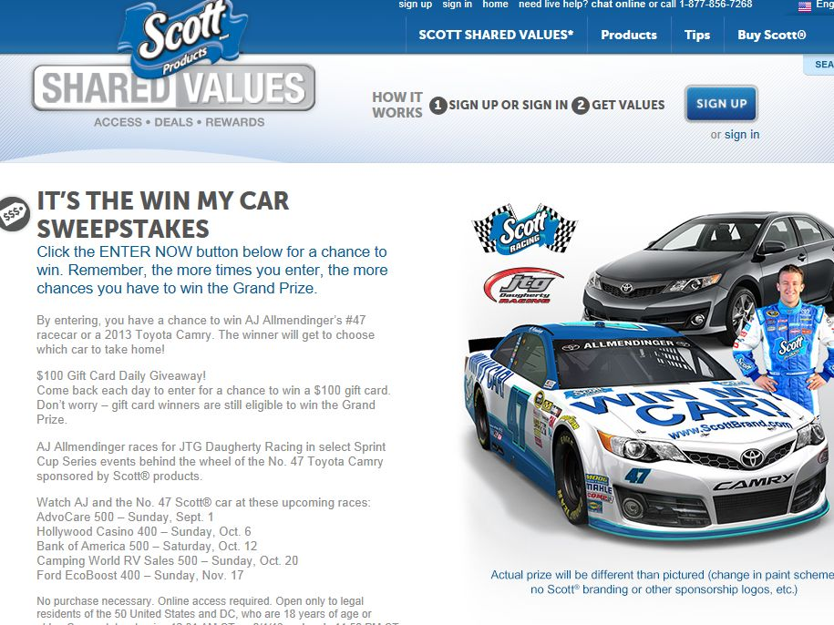 SCOTT Brand Shared Values Win My Car Sweepstakes