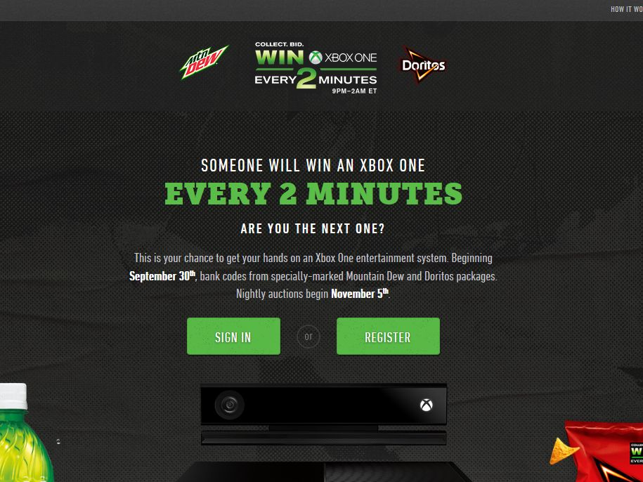 "Mtn Dew Game Fuel/Doritos/ ""Xbox One - Every Two Minutes"" promotion"