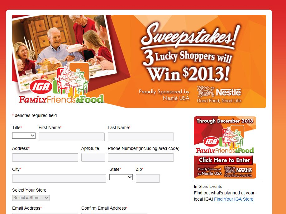 2013 IGA Family Friends & Food Sweepstakes