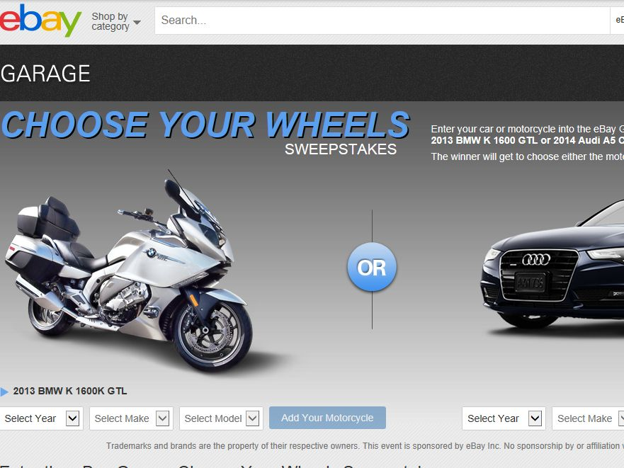 eBay Garage Choose Your Wheels Sweepstakes