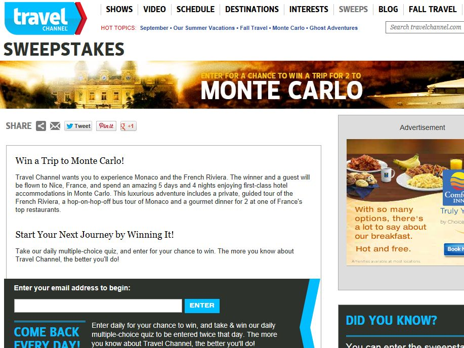 Travel Channel September 2013 Sweepstakes